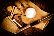 Golf Club Prints - Old Golf Gear Print by Charline Xia