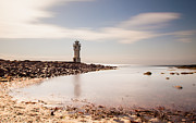 Exposure Pyrography Prints - Old lighthouse Print by Thorir Bjorgvinsson
