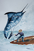 Game Painting Framed Prints - Old Man and The Sea Framed Print by Barbara McMahon