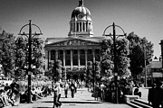 Flower Basket Photos - Old Market Square Nottingham known as slab square with council house city hall soon to be square one by Joe Fox