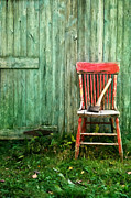 Sandra Cunningham - Old red chair near a barn/digital watercolor