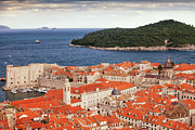 Tiled Prints - Old Town of Dubrovnik and Lokrum Island Print by Artur Bogacki