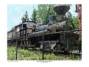 Steam Locomotives Digital Art Posters - Old Train  Poster by Kenneth De Tore