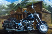 Harley Davidson Paintings - Old West Fat Boy by Tim  Scoggins