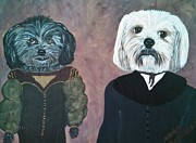 Shih Tzu-poodle Prints - Olive and Buddy BFF Print by Nancy VanSchaack
