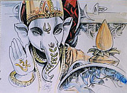 Ganapathi Paintings - Om Ganesha by Ajay Kumar Samir