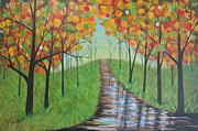 Abstract Impressionism Paintings - On The Right Path by Molly Roberts