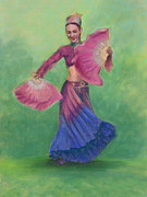 Fan Pastels Posters - One Hundred Belly Dancers Number Twenty-three Poster by Marie Marfia