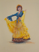 Dancing Girl Pastels Posters - One Hundred Belly Dancers Number Twenty-two Poster by Marie Marfia