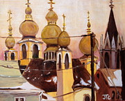 Onion Domes Painting Posters - Onion Domes Poster by Julie Todd-Cundiff