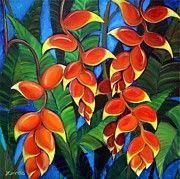 Heliconia Posters - Orange Heliconia Poster by Jerri Grindle