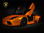 Motorsports Framed Prints - Orange Murcielago Framed Print by Douglas Pittman