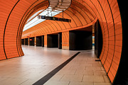 Martin Dzurjanik Framed Prints - Orange Subway Station Framed Print by Martin Dzurjanik