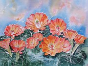 Arizona Artist Originals - Orange Yellow Red Hedgehog Cactus Flower Prescott Arizona by Sharon Mick