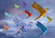 Paper Folding Art - Origami Bird Dreamscape by Paul Fleet
