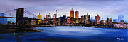 New York City Skyline Painting Originals - Original modern canvas painting New York city skyline by Enxu Zhou