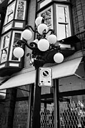Streetlamps Posters - ornate streetlights in historic gastown district of Vancouver BC Canada Poster by Joe Fox