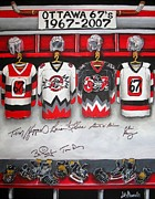 Hockey Painting Posters - Ottawa 67s Coaches Poster by Jill Alexander