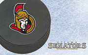 Puck Prints - Ottawa Senators Print by Joe Hamilton