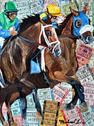 Kentucky Derby Mixed Media Prints - Out Of The Gate Print by Michael Lee