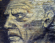 Vintage Reliefs Metal Prints - Pablo Picasso Face Portrait - Painting On The Wood Metal Print by Nenad  Cerovic