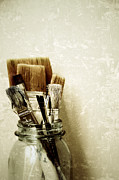 Vintage Painter Framed Prints - Paint Brushes in Jar Framed Print by Birgit Tyrrell