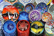 Souvenirs Photos - Painted Ceramic Bowls in the Grand Bazaar Istanbul by Robert Preston