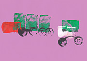 Beautiful Child Prints - Painting Of A Truck In Childrens Style Print by Fizzy Image