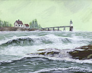 Maine Seacoast Paintings - Painting Of Ram Island Lighthouse During Storm by Keith Webber Jr