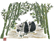 Torn Painting Framed Prints - Panda Bear In Bamboo Bush  Framed Print by Keiko Suzuki