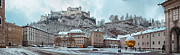 Recreation Building Framed Prints - Panorama of Salzburg in the Winter Framed Print by Sabine Jacobs