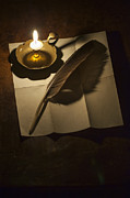 Candle Lit Prints - Paper And Quill By Candle Light Print by Lee Avison