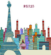 Fine Bottle Mixed Media Posters - Paris Poster by Brian Buckley