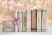 Cottage Chic Posters - Paris Dreamy Shabby Chic Romantic Pink Cottage Books Love Dreams Paris Collection Pastel Books Poster by Kathy Fornal