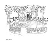 Historic Garden Drawings - Paris Gardens by Steven Tomadakis