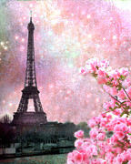 Paris Metal Prints - Paris Spring Pink Dreamy Eiffel Tower Romantic Pink Flowers - Paris Eiffel Tower Twinkle Stars Metal Print by Kathy Fornal