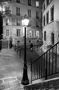 Night Lamp Prints - Paris Street Print by Brian Jannsen