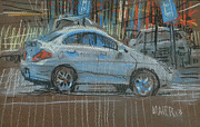 Car Pastels Prints - Parking Lot Print by Donald Maier