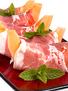 Sliced Metal Prints - Parma ham and melon Metal Print by Jane Rix