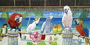 Beach Bird Paintings - Parrots in Paradise by Danielle  Perry