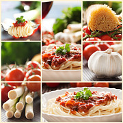 Italian Meal Posters - Pasta collage Poster by Mythja  Photography
