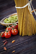 Healthy Herbs Posters - Pasta ingredients Poster by Mythja  Photography