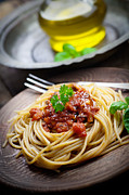 Spaghetti Prints - Pasta with tomato sauce Print by Mythja  Photography