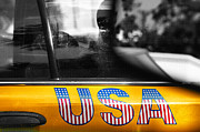 Red White And Blue Mixed Media Posters - Patriotic USA Taxi Poster by Anahi DeCanio
