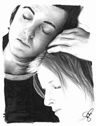 Mccartney Drawings Posters - Paul and Linda McCartney Poster by Rosalinda Markle