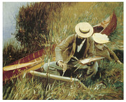Singer Painting Framed Prints - Paul Helleu Sketching with his Wife Framed Print by John Singer Sargent