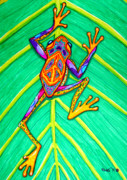 Whimsical Frogs Posters - Peace Frog Poster by Nick Gustafson