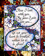 Scripture Digital Art Prints - Peace I leave With You Print by La Rae  Roberts