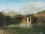 Waterfalls Paintings - Peaceful Falls by Catfish Lawrence