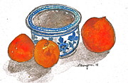 Peaches Painting Prints - Peaches and Pot Print by Edith Thompson